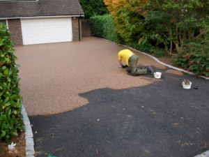 recent installation for resin driveways in runcorn, our team mid job at site
