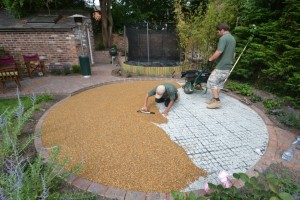 recent installation of one of our resin driveways in runcorn being installed